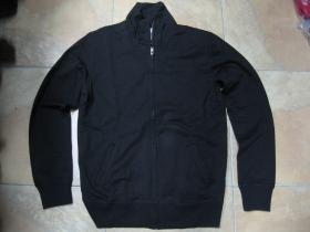 čistá čierna mikina na zips bez kapuce materiál  60% bavlna 40% Polyester