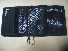 Motorhead  hrubá pevná textilná peňaženka s retiazkou a karabínkou