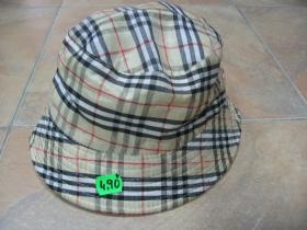 klobúčik plátený škótske káro béžovo-čierno-červenobiele 100%bavlna univerzálna veľkosť