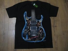 čierne hrubé pánske tričko GITARA SO SMRTKAMI s obojstrannou potlačou materiál 100% bavlna