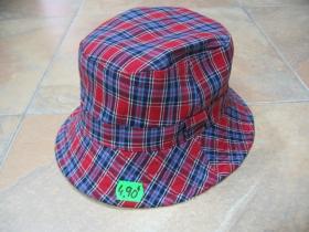 klobúčik plátený škótske káro modročervenobiele 100%bavlna univerzálna veľkosť