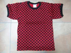 SKA šachovnica červenočierna, dámske tričko 100%bavlna