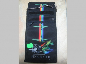 Pink Floyd,  hrubá pevná textilná peňaženka s retiazkou a karabínkou