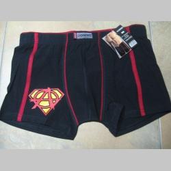 Anarchy Superman trenírky BOXER s červenými prúžkami, top kvalita 95%bavlna 5%elastan