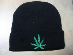 Cannabis - Ganja čierna zimná čiapka s vyšívaným logom, materiál 90%akryl 10%spandex univerzálna veľkosť