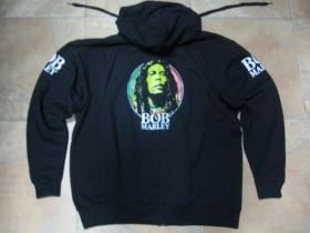 Bob Marley hrubá čierna mikina na zips s kapucou stiahnuteľnou šnúrkami