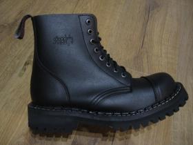 Steadys VEGAN Obuv, umelá koža, topánky 8. dierové čierne s prešívanou oceľovou špičkou