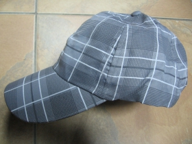 Šiltovka károvaná škótska vzadu so zapínaním na suchý zips 100%polyester  šedá s bieločiernym károm, Univerzálna veľkosť