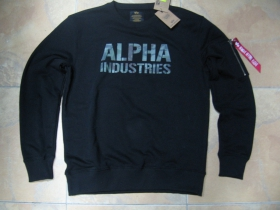 """Alpha Industries, hrubá čierna mikina s tlačeným maskovacím logom, materiál: 80%bavlna 20%polyester, zips v štýle """"BOMBER"""" na rukáve"""