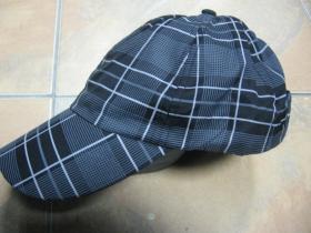 Šiltovka károvaná škótska vzadu so zapínaním na suchý zips 100%polyester čierna s bielošedým károm, Univerzálna veľkosť