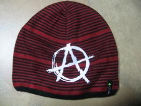 Anarchy - áčko  hrubá zimná červenočierna čiapka s tlačeným logom, materiál 100%akryl univerzálna veľkosť