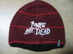 Punks not dead hrubá zimná červenočierna čiapka s tlačeným logom, materiál 100%akryl univerzálna veľkosť