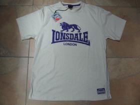 Lonsdale pieskové tričko PROMO s fialovou potlačou materiál 35%bavlna 65%polyester posledný kus veľkosť S