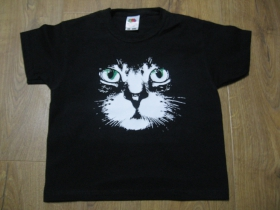 mačka  detské tričko čierne materiál 100%bavlna