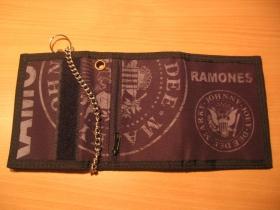 Ramones, hrubá pevná textilná peňaženka s retiazkou a karabínkou