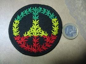 Rasta Peace nažehľovacia nášivka vyšívaná (možnosť nažehliť alebo našiť na odev)