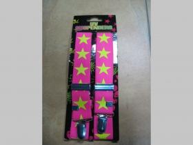 Traky ROCK STAR, ružové so žltými hviezdami