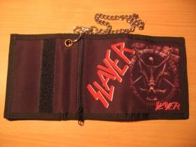 Slayer, hrubá pevná textilná peňaženka s retiazkou a karabínkou