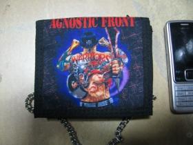 Agnostic Front hrubá pevná textilná peňaženka s retiazkou a karabínkou