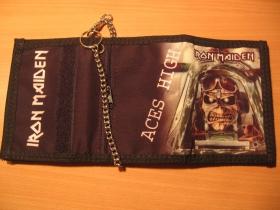 Iron Maiden, hrubá pevná textilná peňaženka s retiazkou a karabínkou