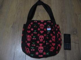 Dámska čierna plátená taška cez plece s celoplošnou potlačou