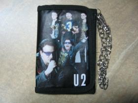U2 koženková peňaženka s retiazkou a karabínkou