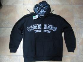 Commando Industries mikina na zips s kapucou a vyšívaným maskáčovým logom a maskáčovým vnútrom kapucne 80%bavlna 20%polyester