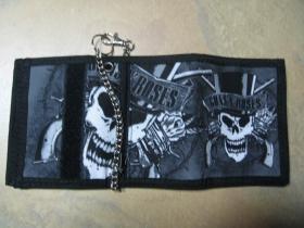 Guns n Roses hrubá pevná textilná peňaženka s retiazkou a karabínkou