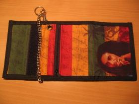 Bob Marley - Rasta, hrubá pevná textilná peňaženka s retiazkou a karabínkou