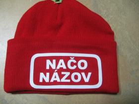 Načo Názov červená zimná čiapka s tlačeným logom 100% akryl, univerzálna veľkosť
