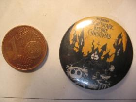 Nightmare Before Christmas plechový klasický odznak s priemerom 25mm