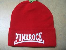 Punkrock červená zimná čiapka s tlačeným logom 100% akryl, univerzálna veľkosť