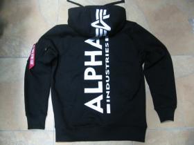 Alpha Industries, hrubá čierna mikina na zips skapucou s obojstranným tlačeným logom aj na kapuci, 80%bavlna 20%polyester