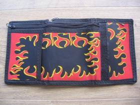 FLAMES - plamene čierna pevná textilná peňaženka s retiazkou a karabínkou