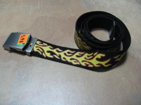 Textilný opasok FLAMES, čierny s plameňmi a posuvnou kovovou prackou, veľkosť UNI