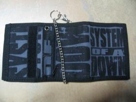 System of a Down hrubá pevná textilná peňaženka s retiazkou a karabínkou