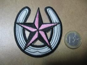 Hviezda Rock star nažehľovacia nášivka vyšívaná (možnosť nažehliť alebo našiť na odev) rozmery 6,8 x 6,5cm materiál 100%bavlna