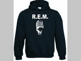R.E.M. čierna mikina s kapucou stiahnutelnou šnúrkami a klokankovým vreckom vpredu