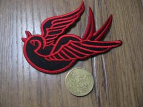Lastovička - Swallow nažehľovacia nášivka vyšívaná (možnosť nažehliť alebo našiť na odev) cca. 9,5x6cm