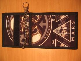 30 seconds to Mars,  hrubá pevná textilná peňaženka s retiazkou a karabínkou