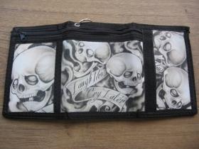 Skulls - lebky - smrtky čierna pevná textilná peňaženka s retiazkou a karabínkou