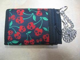 čerešne - smrtky,  hrubá pevná textilná peňaženka s retiazkou a karabínkou