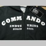 Commando Industries mikina na zips s kapucou a vyšívaným bielym logom 80%bavlna 20%polyester pevný kovový zips