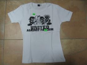 United against fascism, dievčenské tričko biele, 95%bavlna, 5%lykra