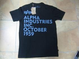 Alpha Industries čierne pánske tričko s tlačeným logom 100% bavlna