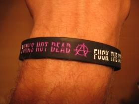 Punks not Dead - Fuck The System, pružný gumenný náramok s vyrazeným motívom