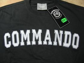 Commando industries čierne pánske tričko s vyšívaným bielym logo 100%bavlna