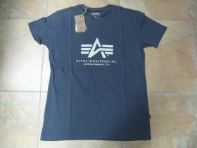 Alpha Industries - šedé pánske tričko s bielym tlačeým logom materiál: 100%bavlna