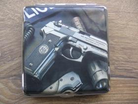 pištol Tabatierka plechová s motívom