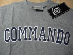 Commando industries šedé pánske tričko s vyšívaným modrostrieborným logo 100%bavlna
